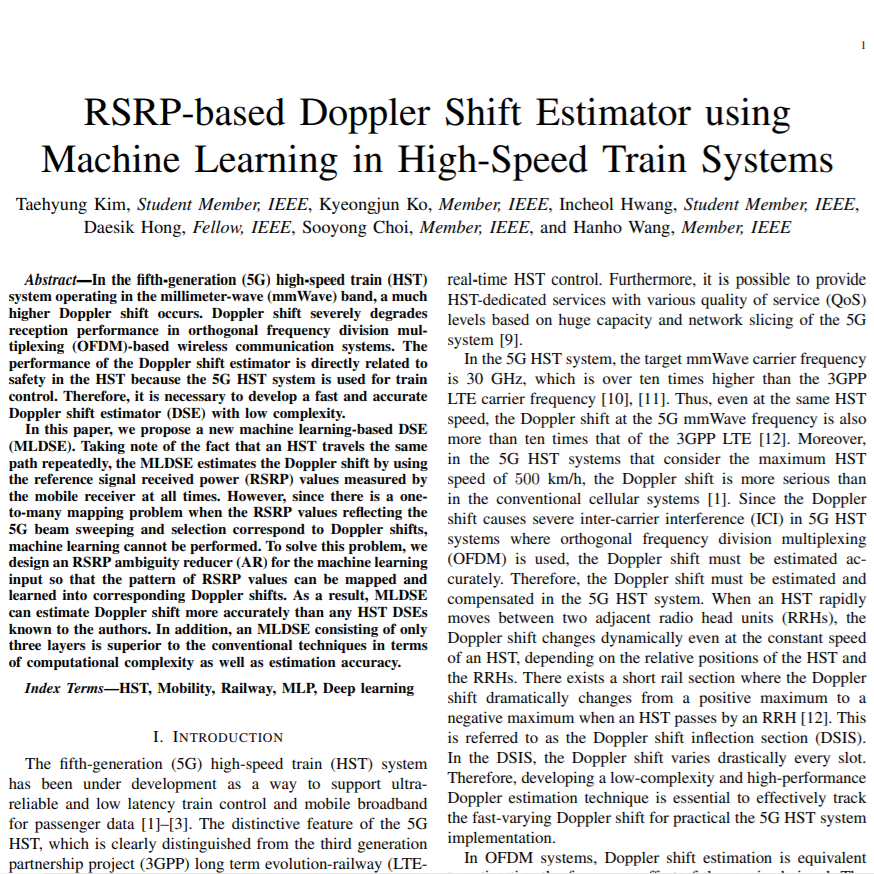RSRP-based Doppler Shift Estimator using Machine Learning in High-Speed Train Systems.png